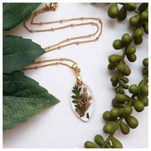 Pressed Flower and Feather Pendant Necklace